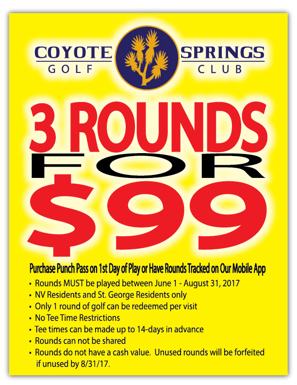 Coyote Springs Golf Club A Jack Nicklaus Signature Golf Course in Coyote Springs Nevada providing a premier golf experience to Henderson, Mesquite and Las Vegas Summertime-Promo--3-for-$99