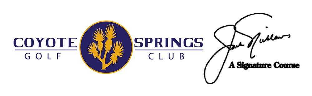 Coyote Springs Golf Club A Jack Nicklaus Signature Golf Course in Coyote Springs Nevada providing a premier golf experience to Henderson, Mesquite and Las Vegas Coyote Springs Logo with Signature glow
