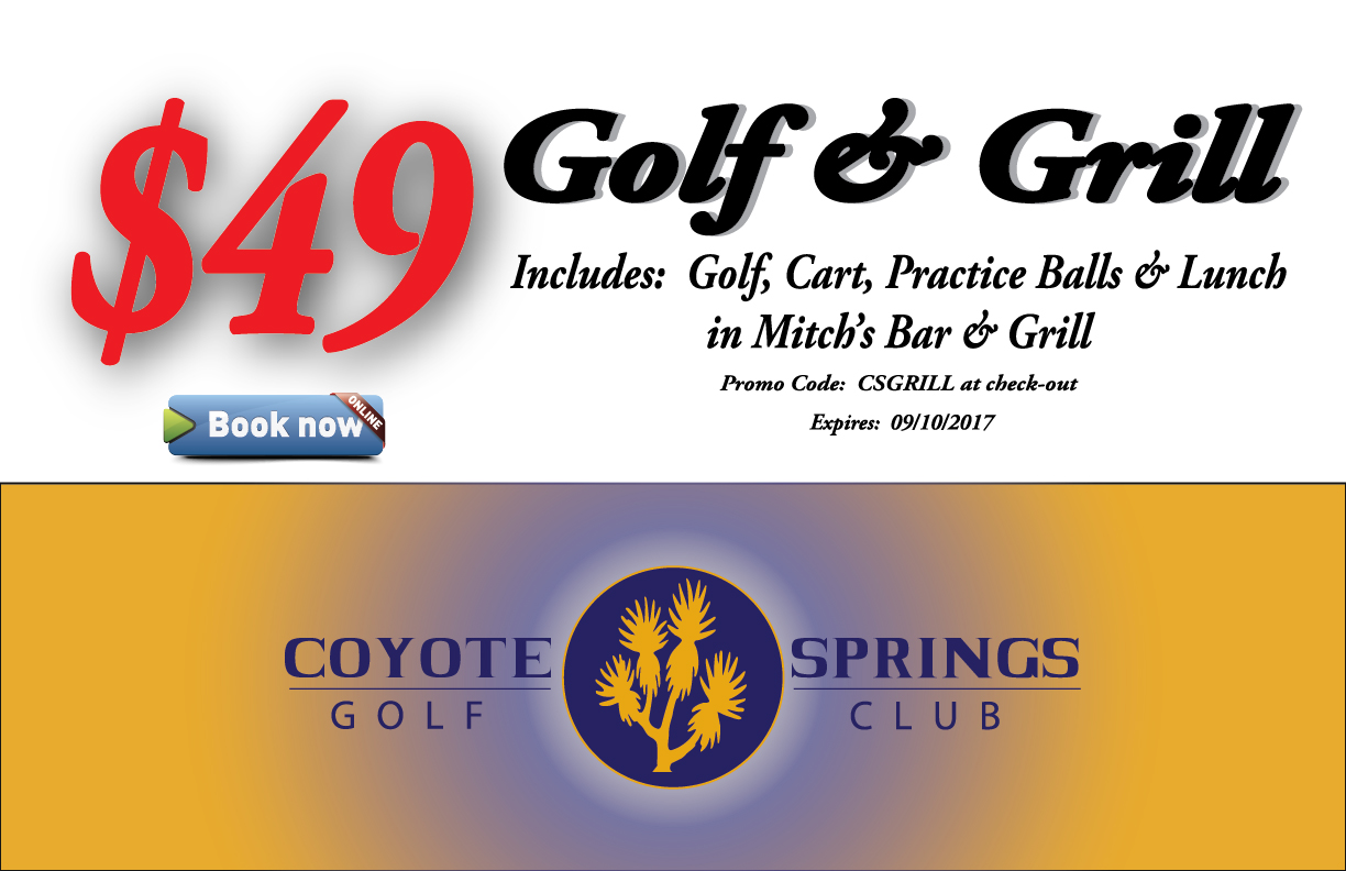 Coyote Springs Golf Club A Jack Nicklaus Signature Golf Course in Coyote Springs Nevada providing a premier golf experience to Henderson, Mesquite and Las Vegas Golf-&-Grill promotion